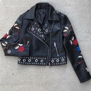 Romeo & Juliet Couture embroidered moto jacket XS